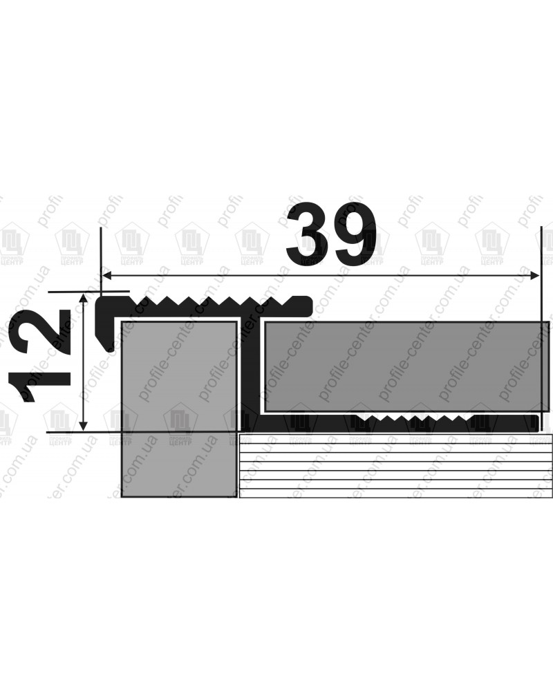 Алюмінієвий посилений Z-подібний профіль для плитки 10-12 мм. АПЗР без покриття 2.5 м