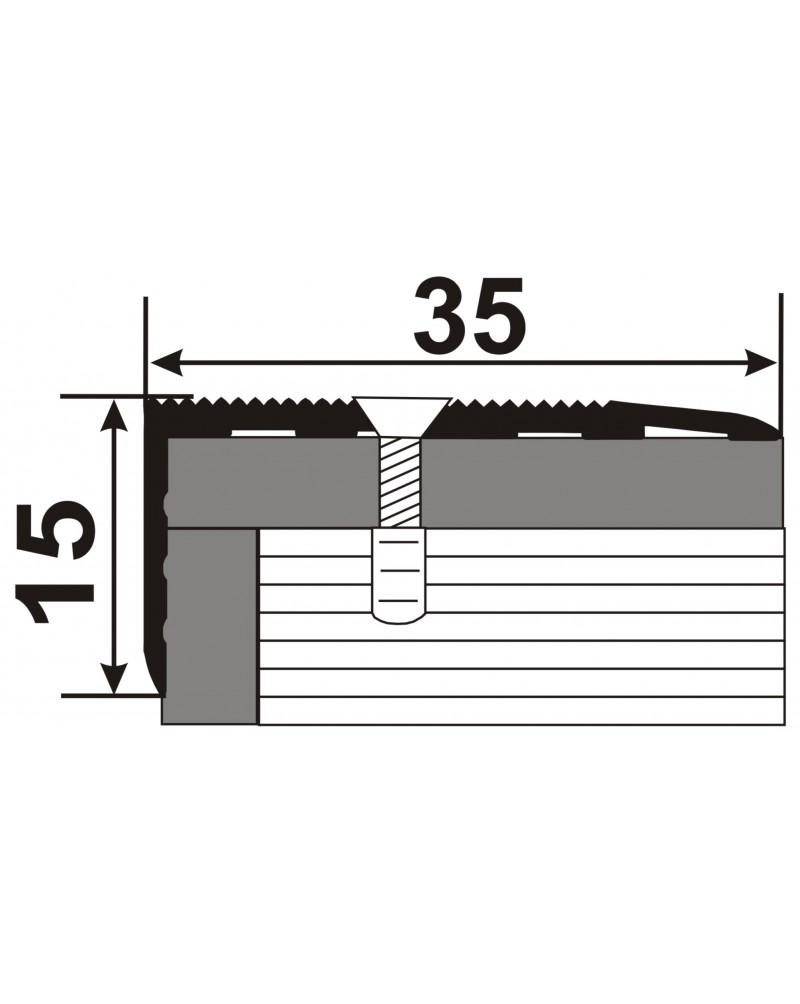 Л 015. Латунний поріг кутовий для сходів, 35мм*15мм. Довжина 1.8 м