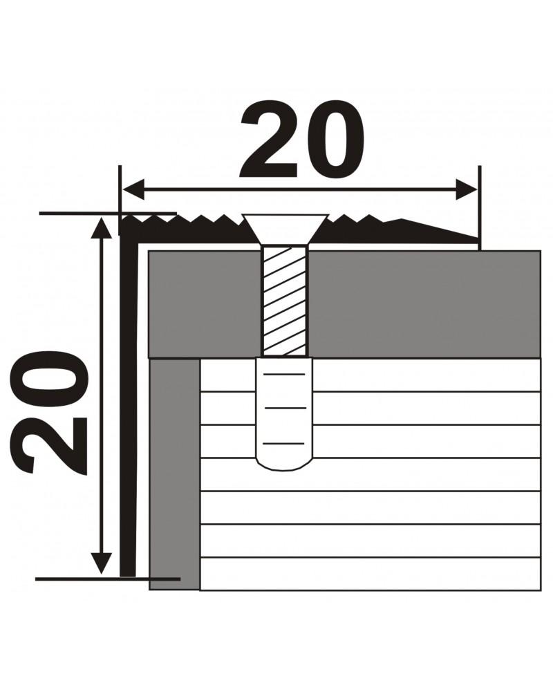Л 030. Латунний поріг кутовий для сходів, 30мм*30мм. Довжина 0.9 м