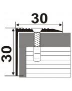 Л 030. Латунный порожек угловой, лестничный, 30мм*30мм. Длина 2.7 м