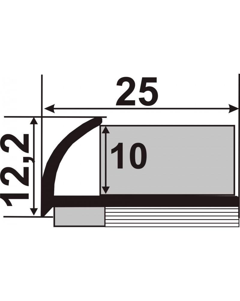 НЛП 10. Латунний зовнішній кут для плитки. Довжина 2.5 м