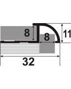 ОЛП. Латунний зовнішній кут для плитки. Довжина 2.5 м