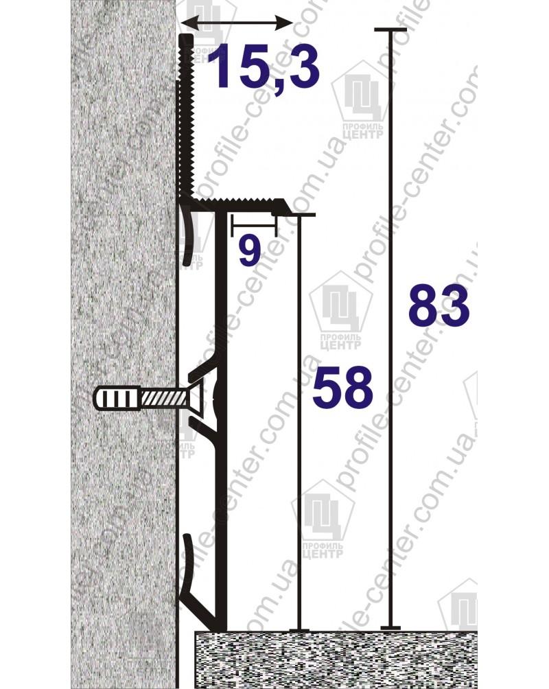 Алюминиевый плинтус скрытого монтажа BEST DEAL 2/83 анод «Серебро»