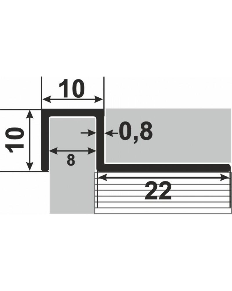 Алюминиевый П-образный бордюр для плитки до 9 мм АДБ 10 анод «серебро» 2.7м