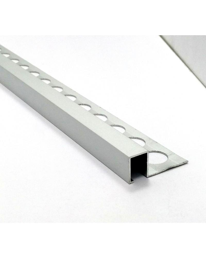 Алюминиевый П-образный бордюр для плитки до 12 мм АДБ 12 анод «серебро» 2.7м