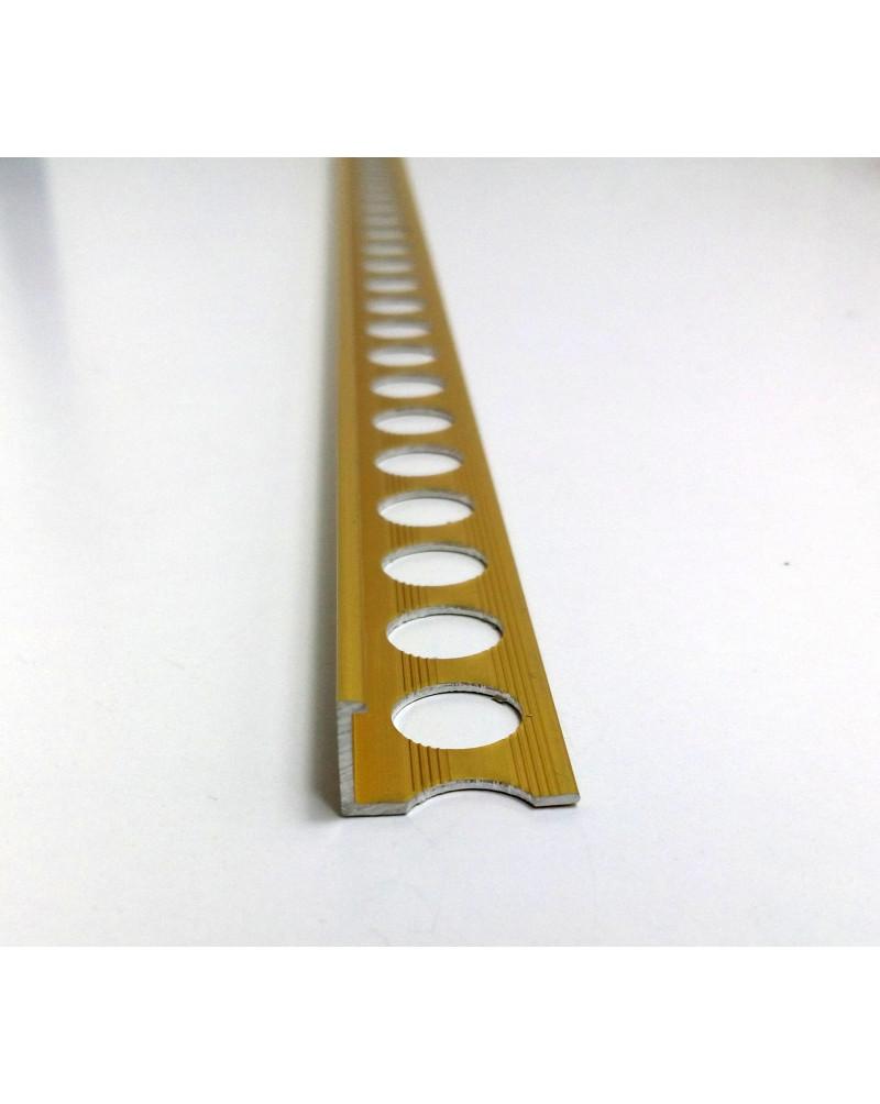 Алюминиевый Г-профиль для плитки до 8мм. АП 10 анод «золото» 2.7м