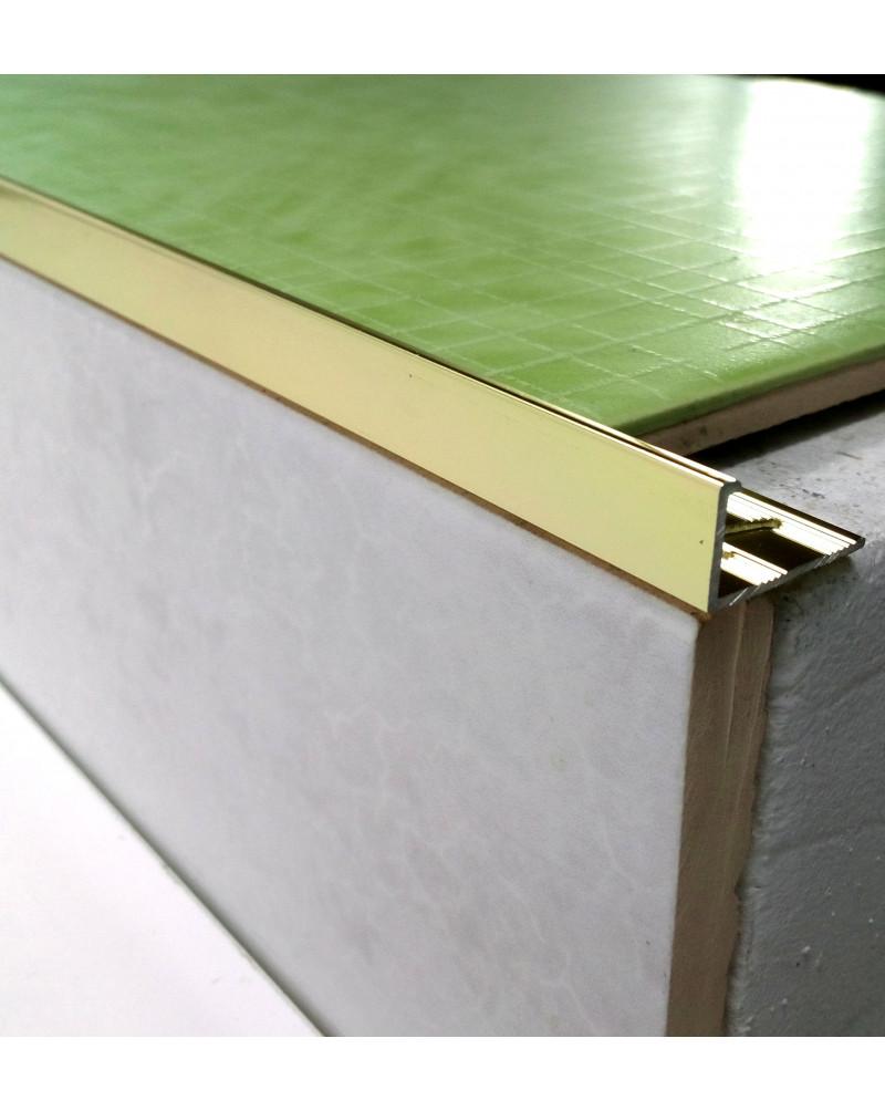 Алюмінієвий Г-профіль для плитки до 8мм. АП 10 анод «Золото поліроване» 2.7м