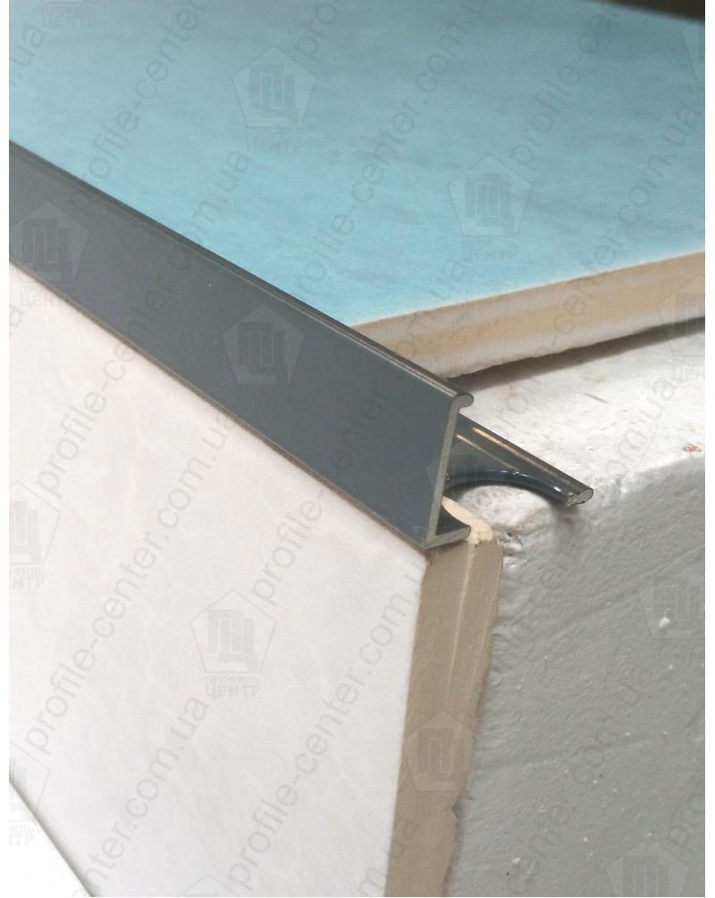 Алюминиевый Г-профиль для плитки до 12мм. АП 12 крашенный «Графит» 2.7м