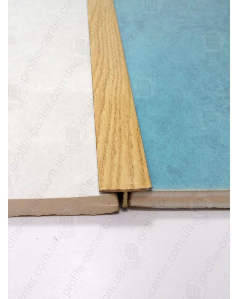Алюминиевый Т-образный порожек. Декор «под дерево». АТ 18 дуб 2.7м