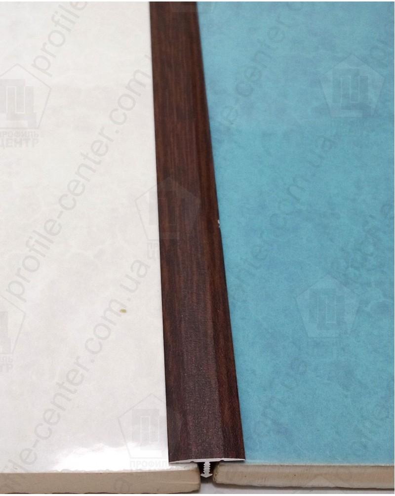 Алюминиевый Т-образный порожек. Декор «под дерево». АТ 18 махагон 2.7м