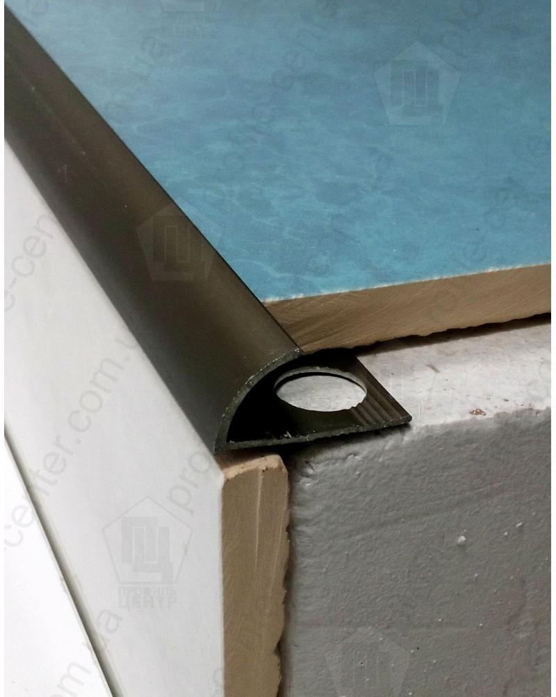Зовнішній алюмінієвий куточок для плитки до 12мм. НАП 12 анод «бронза» 2.7м