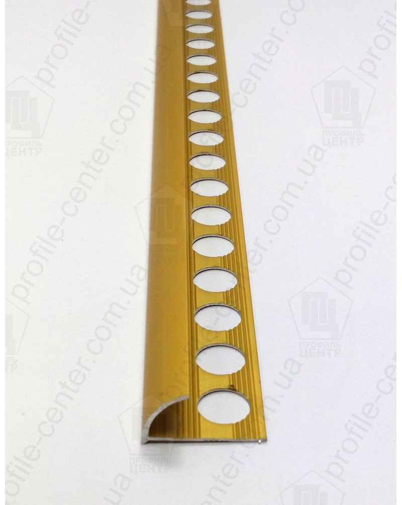 Зовнішній алюмінієвий куточок для плитки до 12мм. НАП 12 анод «золото» 2.7м