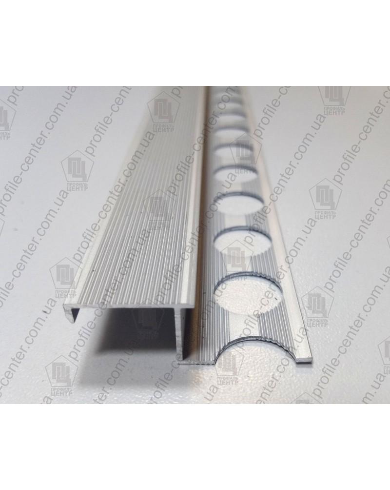 Алюминиевый Z-образный профиль для плитки до 9 мм. ПЛ 210 анод «серебро» 2.7м