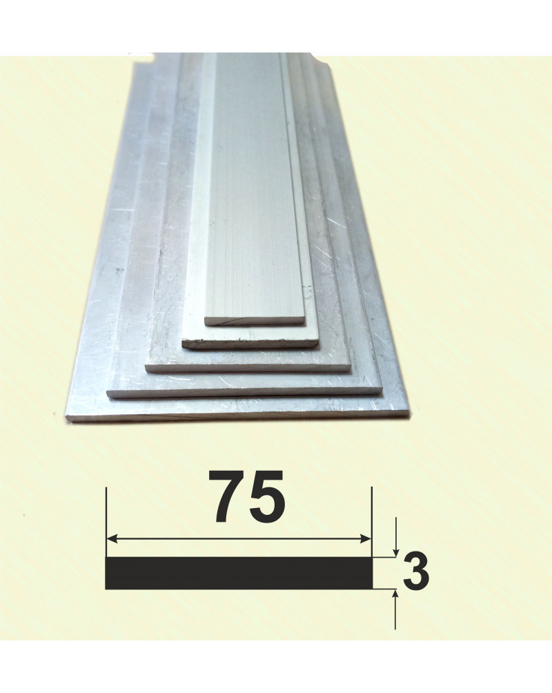75*3. Алюмінієва смуга, без покриття 3,0 м.