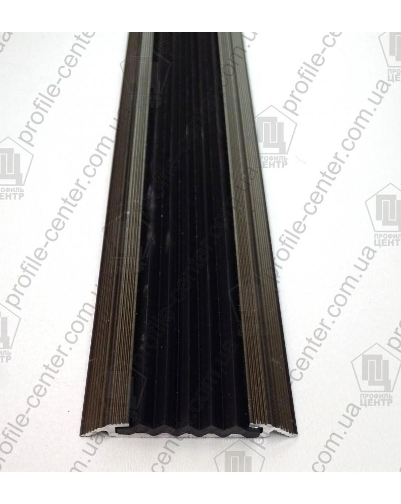 Алюминиевый порожек с резиновой вставкой УЛ 150 бронза оливка 3,0м