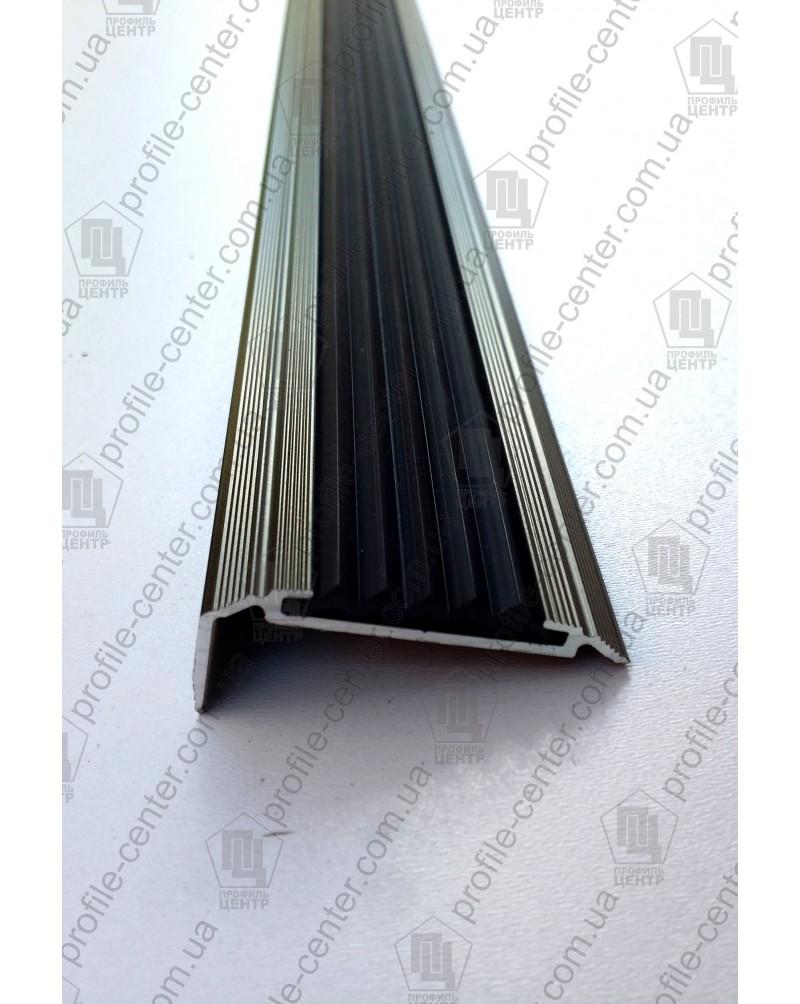 Алюминиевый угловой порожек с резиновой вставкой УЛ 151 бронза оливка 1,0м