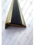 Алюмінієвий кутовий поріг з гумовою вставкою УЛ 151 золото 1,0м