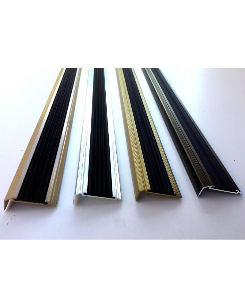 Алюминиевый угловой порожек с резиновой вставкой УЛ 151 бронза оливка 3,0м