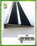Алюминиевый угловой порожек с двойной резиновой вставкой УЛ 152 БП