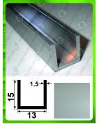 15*13*15*1,5. Алюмінієвий швелер, анод «срібло»