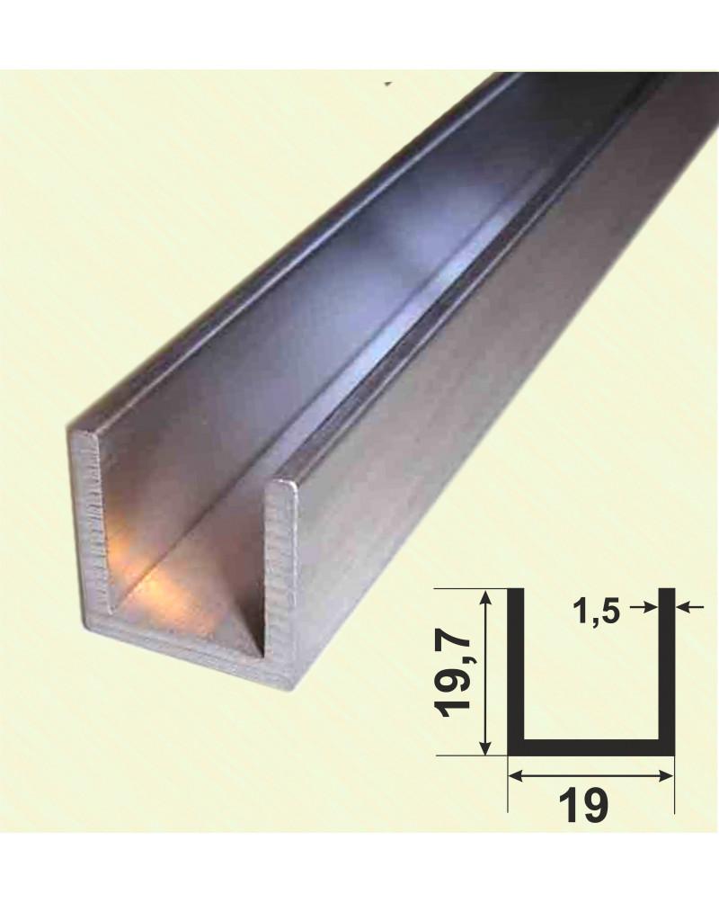 19.7x19x19.7x1.5. Алюмінієвий швелер, без покриття 3,0 м.