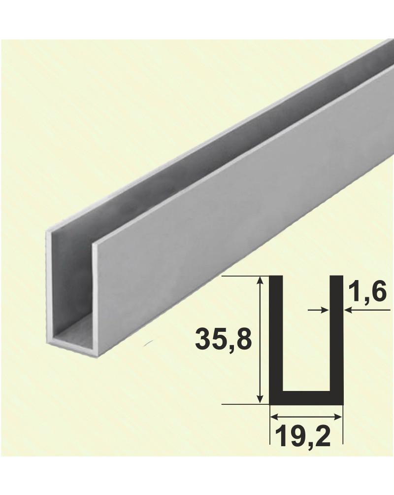 35.8*19.2*35.8*1.6. Алюмінієвий швелер, анод «срібло» 3,0 м.