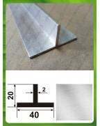 40*20*2. Алюмінієвий тавр, без покриття