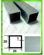 20*20*1. Алюминиевая квадратная труба, анод «Серебро»