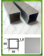 60*60*1,8. Алюминиевая квадратная труба, анод «Серебро»