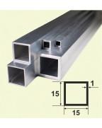 15*15*1. Алюминиевая квадратная труба, анод «Серебро» 3,0 м.