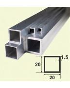 20*20*1.5. Алюминиевая квадратная труба, без покрытия 3,0 м.