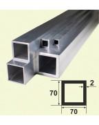 70*70*2. Алюминиевая квадратная труба, без покрытия 3,0 м.