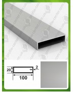 100*20*2. Алюминиевая прямоугольная труба, анод «Серебро» 3,0 м.