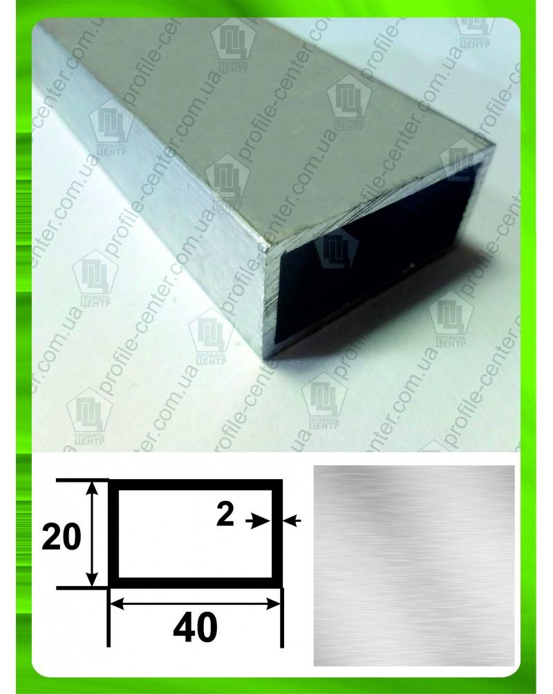40*20*2. Алюминиевая прямоугольная труба, без покрытия