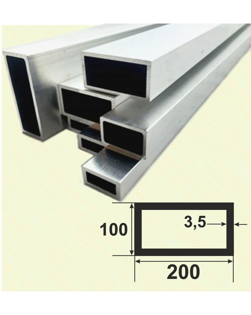 200*100*3,5. Алюмінієва прямокутна труба, без покриття 3,0 м.