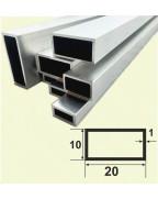 20*10*1. Алюминиевая прямоугольная труба, анод «Серебро» 3,0 м.