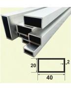 40*20*2. Алюминиевая прямоугольная труба, без покрытия 3,0 м.