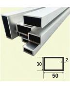 50*30*2. Алюминиевая прямоугольная труба, анод «Серебро»