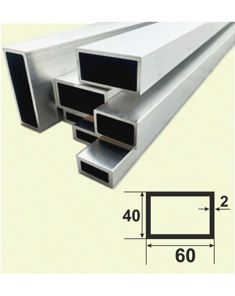 60*40*2. Алюминиевая прямоугольная труба, анод «Серебро» 3,0 м.