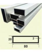80*20*2. Алюминиевая прямоугольная труба, без покрытия