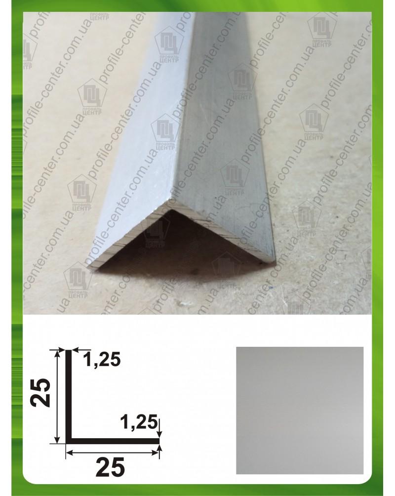 25*25*1.25. Алюмінієвий куточок рівносторонній, анод «срібло»