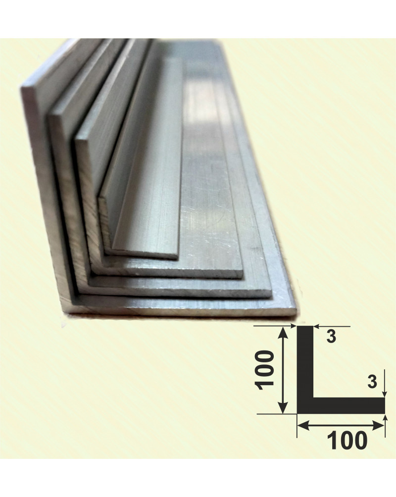 100*100*3. Алюмінієвий куточок рівносторонній, без покриття 3,0 м.