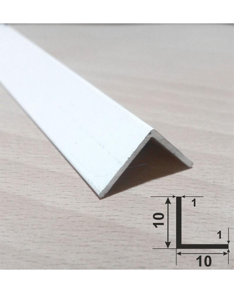 10*10*1. Алюминиевый уголок равносторонний, крашенный «Белый» 3,0 м.