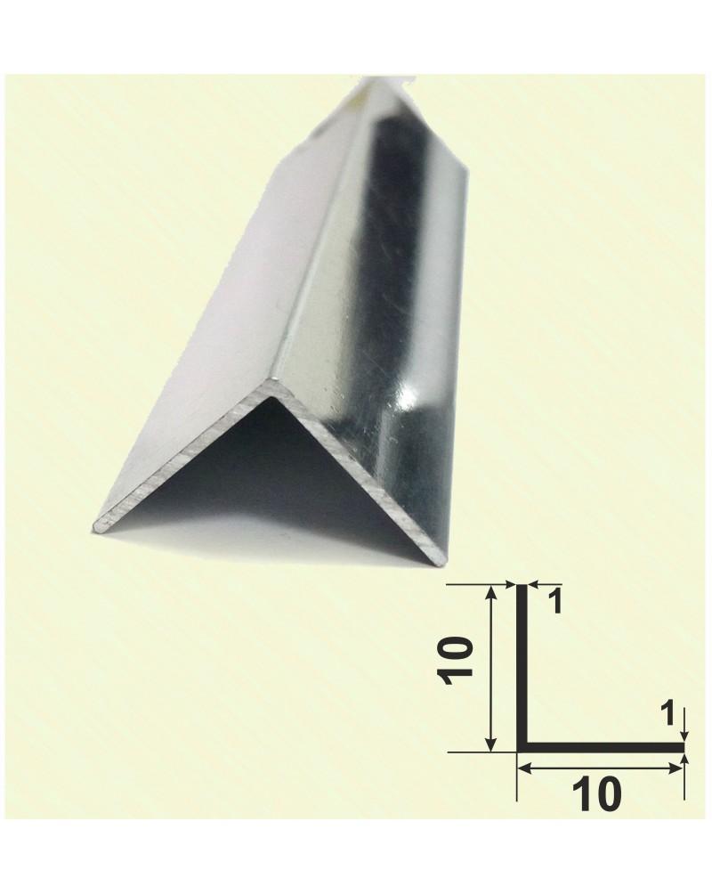 10*10*1. Алюминиевый уголок равносторонний, анод «Серебро полированное»