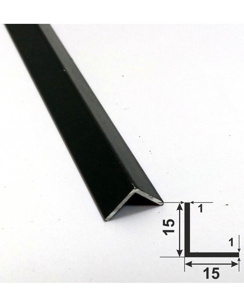 15*15*1. Алюмінієвий куточок рівносторонній, фарбований «Чорний» 3,0 м.