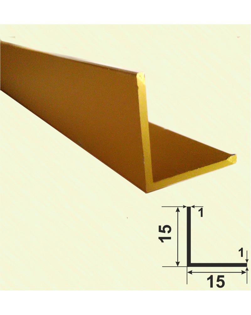 15*15*1. Алюмінієвий куточок рівносторонній, анод «Золото»