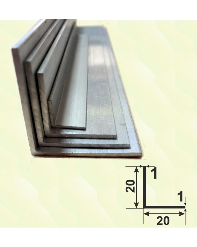 20*20*1. Алюмінієвий куточок рівносторонній, без покриття 3,0 м.