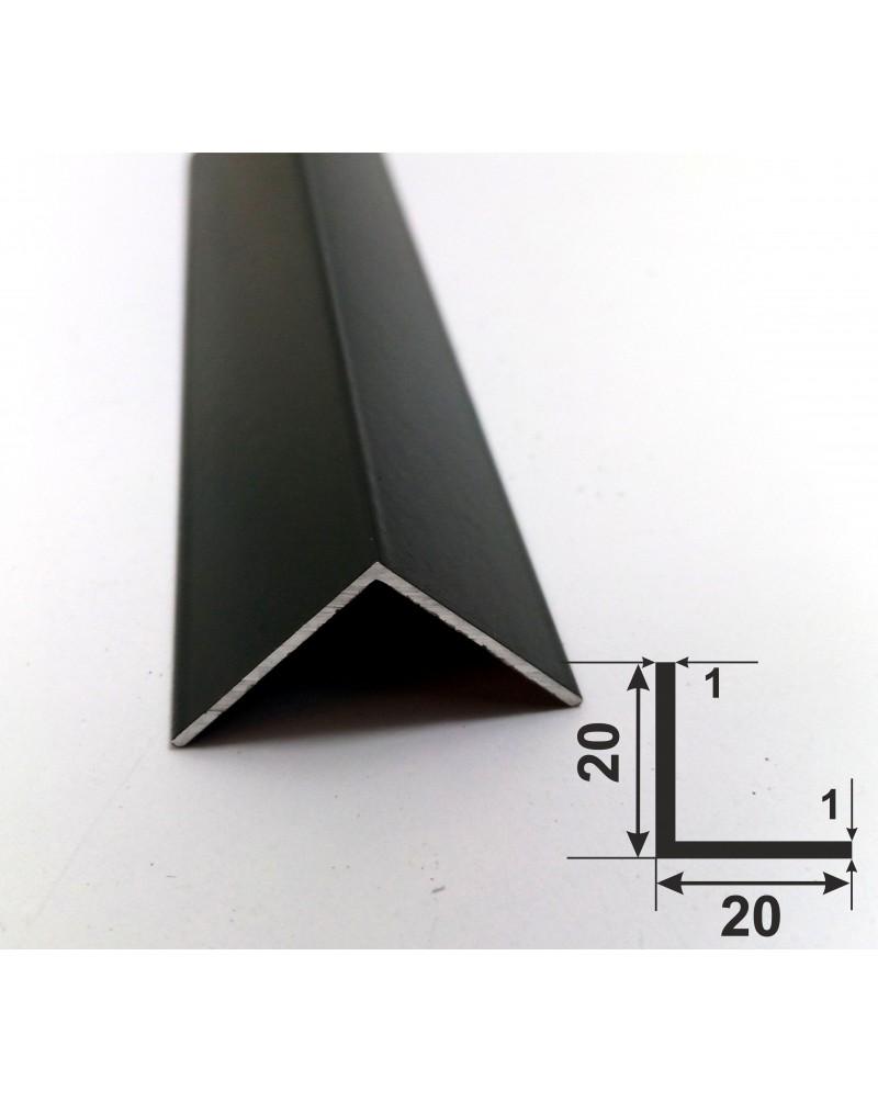 20*20*1. Алюмінієвий куточок рівносторонній, фарбований «Чорний» 3,0 м.