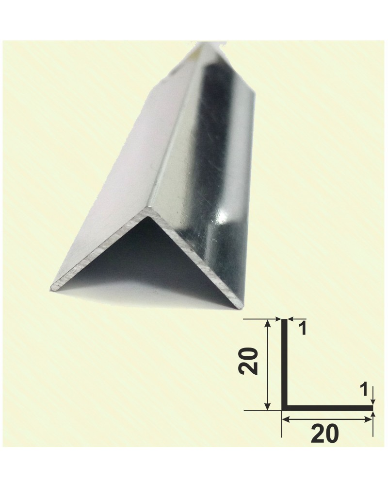20*20*1. Алюминиевый уголок равносторонний, анод «Серебро полированное» 3,0 м.