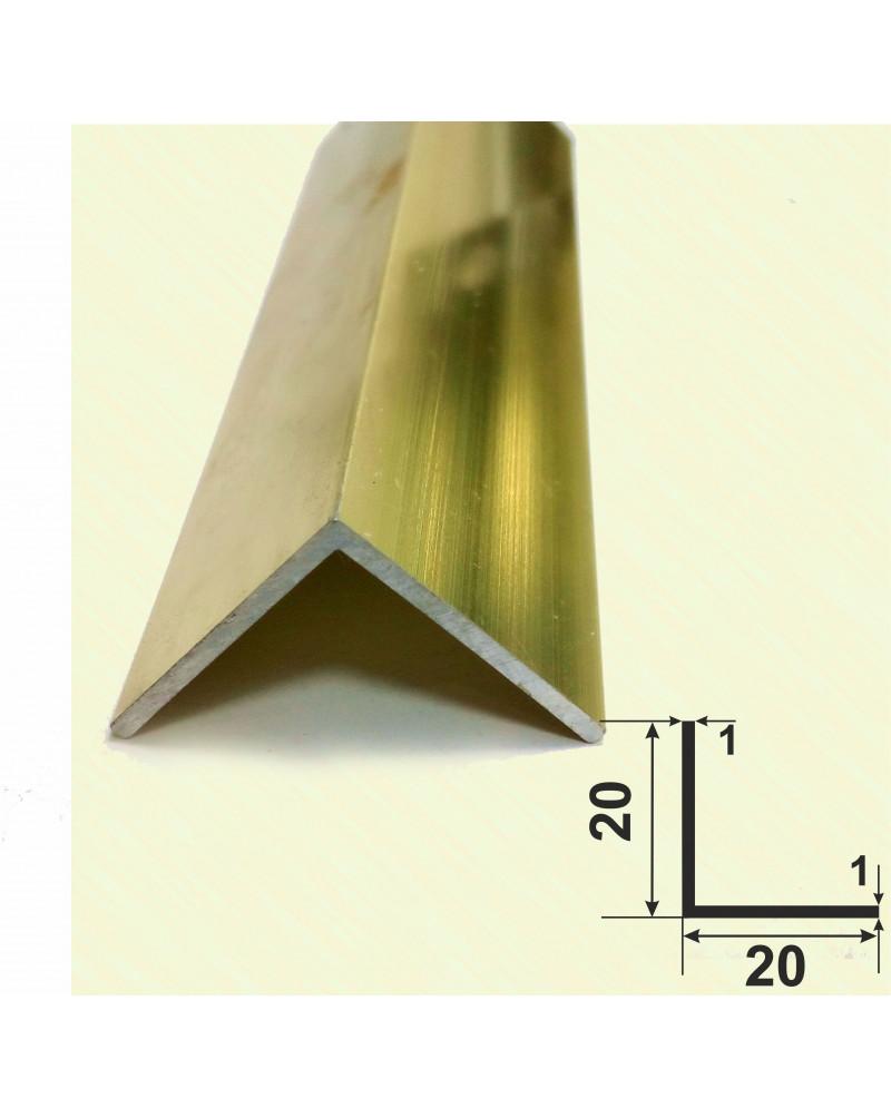 20*20*1. Алюминиевый уголок равносторонний, анод «Золото полированное» 3,0 м.